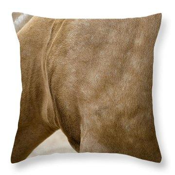 Throw Pillow featuring the photograph Horse Bending Neck by Lorraine Devon Wilke