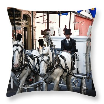 Horse Drawn Carriage Color Throw Pillow by Kathleen K Parker