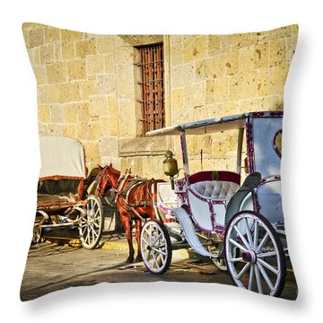 Horse Drawn Carriages In Guadalajara Throw Pillow by Elena Elisseeva