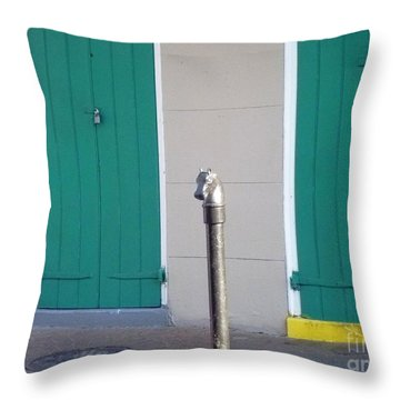 Throw Pillow featuring the photograph Horse Head Post With Green Doors by Alys Caviness-Gober