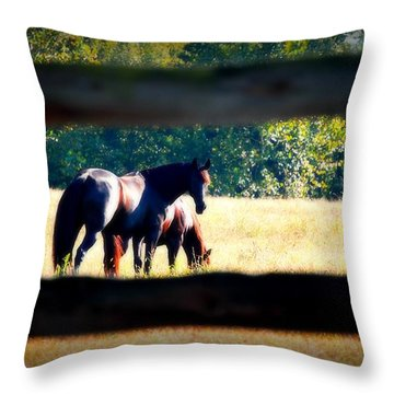 Throw Pillow featuring the photograph Horse Photography by Peggy Franz