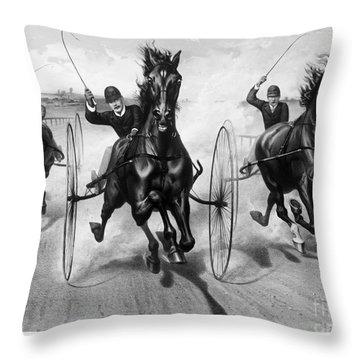 Horse Racing, 1890 Throw Pillow by Granger