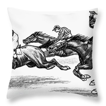 Horse Racing, 1900 Throw Pillow by Granger