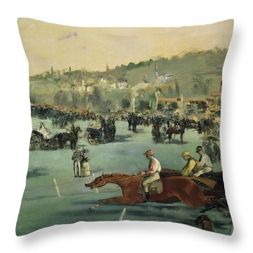 Horse Racing Throw Pillow by Edouard Manet