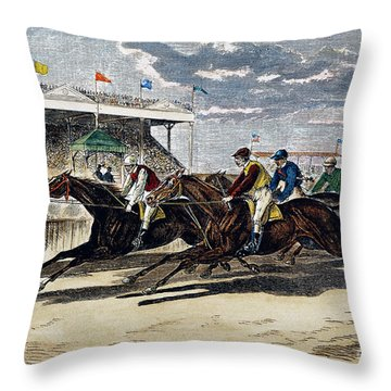 Horse Racing, Ny, 1879 Throw Pillow by Granger