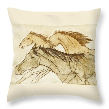 Throw Pillow featuring the drawing Horse Sketch by Nareeta Martin