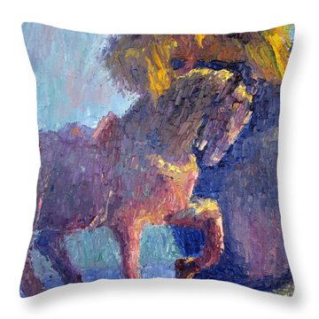 Horse Statue Throw Pillow by Terry  Chacon