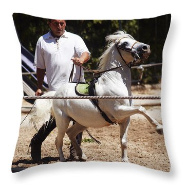 Horse Training Throw Pillow