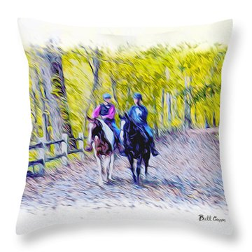 Horseback Riding  Throw Pillow by Bill Cannon