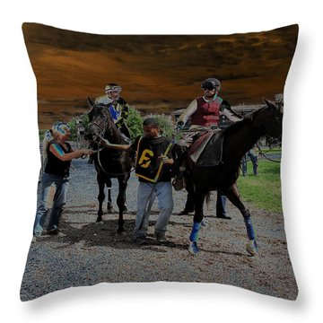 Throw Pillow featuring the digital art Horses 001 by Dorin Adrian Berbier