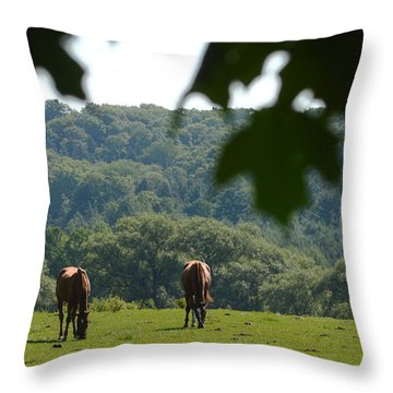 Horses And Summer Breeze Throw Pillow