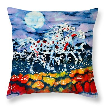 Horses Prance On Flower Field In Summer Moon Throw Pillow by Carol Law Conklin