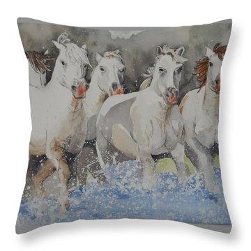 Horses Thru Water Throw Pillow