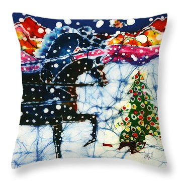 Horses Trot To The Christmas Tree Throw Pillow by Carol Law Conklin