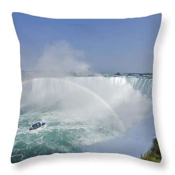 Horseshoe Falls And The Maid Throw Pillow by Darwin Wiggett