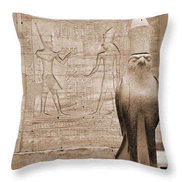 Horus Temple Throw Pillow by Donna Corless