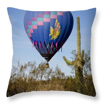 Hot Air Balloon Flight Over The Lush Arizona Desert Throw Pillow by James BO  Insogna
