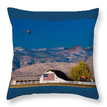 Hot Air Balloon With Usa Flag Barn God Bless The Usa Throw Pillow by James BO  Insogna