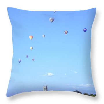 Hot Air Balloons Over Omaha Throw Pillow by John Bowers