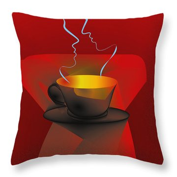 Throw Pillow featuring the digital art Hot Coffee by Leo Symon