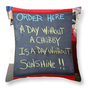 Throw Pillow featuring the photograph Hot Dog Stand Humor by Kay Novy