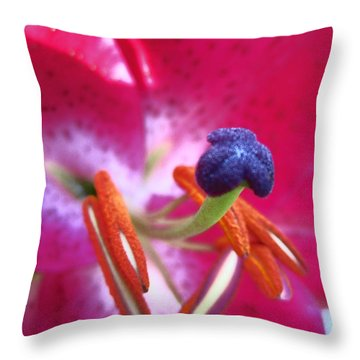 Throw Pillow featuring the photograph Hot Pink Lilly Up Close by Kym Backland