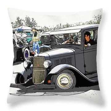 Hot Rod Show Trucks Throw Pillow by Steve McKinzie