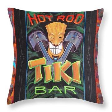 Throw Pillow featuring the painting Hot Rod Tiki Bar by Alan Johnson