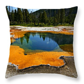 Hot Springs Yellowstone Throw Pillow by Garry Gay