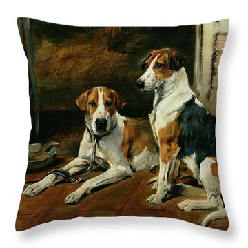 Hounds In A Stable Interior Throw Pillow by John Emms