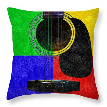 Hour Glass Guitar 4 Colors 1 Throw Pillow by Andee Design