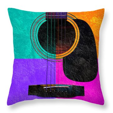 Hour Glass Guitar 4 Colors 2 Throw Pillow by Andee Design