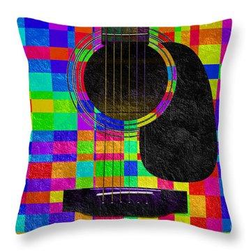 Hour Glass Guitar Random Rainbow Squares Throw Pillow by Andee Design