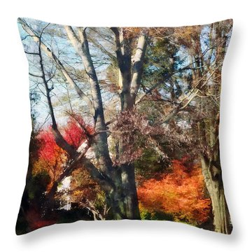 House With Picket Fence In Autumn Throw Pillow by Susan Savad