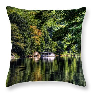 Houseboat On Lake Throw Pillow by Dan Friend