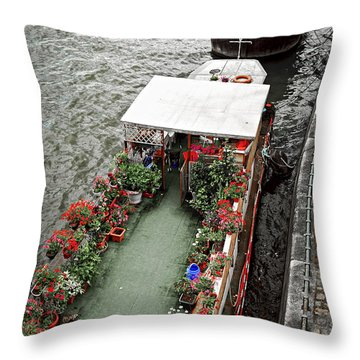 Houseboats In Paris Throw Pillow by Elena Elisseeva