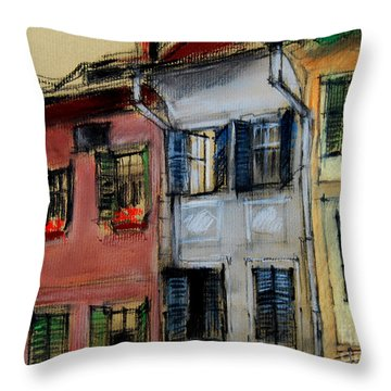 Houses In Transylvania 1 Throw Pillow by Mona Edulesco