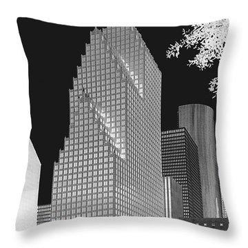 Houston Skyline - Kodak Film Bw Solarized Throw Pillow by Connie Fox