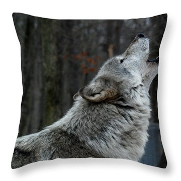 Howling Tundra Wolf Throw Pillow