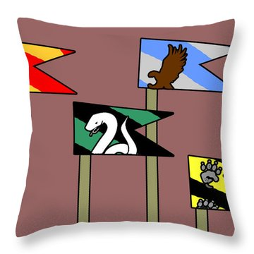 Hp House Flags Throw Pillow by Jera Sky