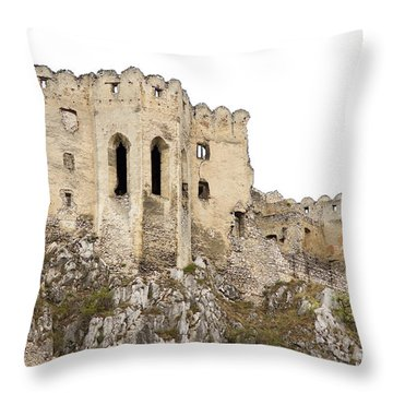 Throw Pillow featuring the photograph Hrad Beckov Castle by Les Palenik