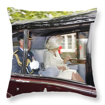 Hrh Prince Charles And Camilla Throw Pillow