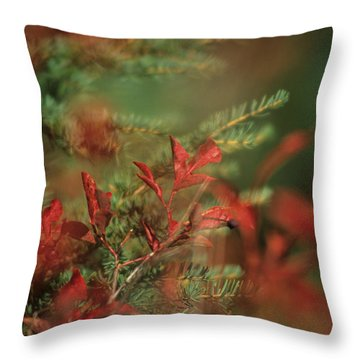 Huckleberry Leaves In Fall Color Throw Pillow by One Rude Dawg Orcutt