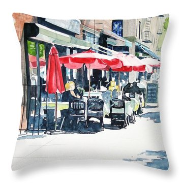 Throw Pillow featuring the painting Hudson Diner by Tom Riggs