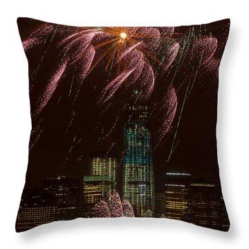 Hudson River Fireworks X Throw Pillow by Clarence Holmes