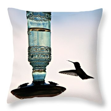Throw Pillow featuring the photograph Hummer At The Feeder by Jo Sheehan