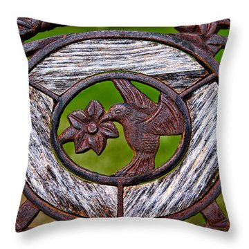 Hummingbird In Iron Throw Pillow by Christopher Holmes