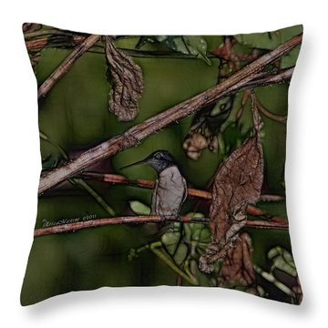 Throw Pillow featuring the photograph Hummingbird Waiting For Dinner by EricaMaxine  Price