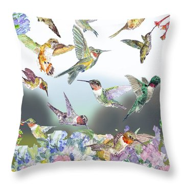 Hummingbirds Galore Throw Pillow by Barry Jones