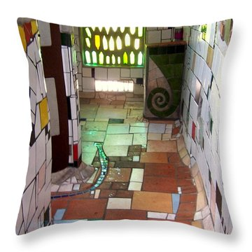 Hundertwasser Restroom Throw Pillow by Peter Mooyman